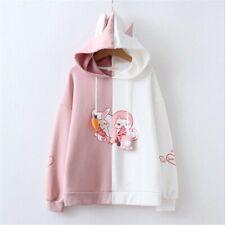 Kawaii Lolita Girls Bunny Rabbit Funny Design Duo Color White Pink Black Green Blue Asymmetrical Pattern Long Sleeves Hoodie