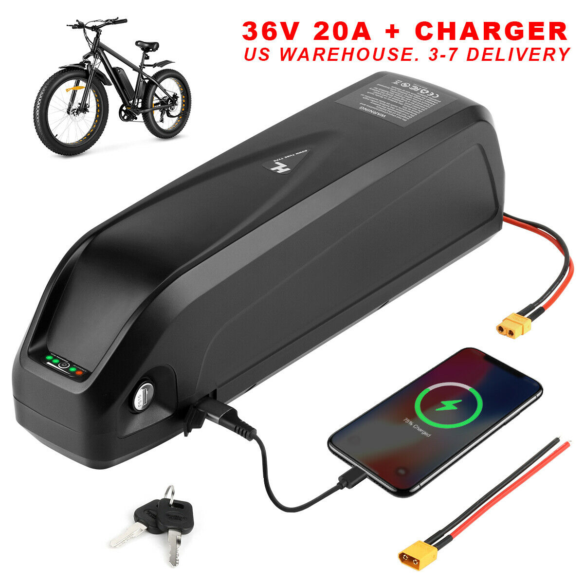 (NY Warehouse) 36V 20AH Ebike Battery Lithium ion Battery Pack with 2A Charger