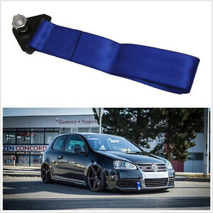 Universal Blue Motorsport Racing Car SUV Tow Pull Rope Towing Strap Bumper Hook