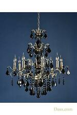 DUSX Charlotte Silver & Black Crystal Glass French Large 8 Arm Chandelier Light