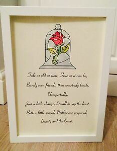 Beauty The Beast Disney Stain Glass Rose Song Quote Art Print