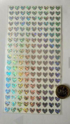 171 Cœurs Argent-paillettes holographique Sparkle Imperméable Stickers autocollants 10 mm