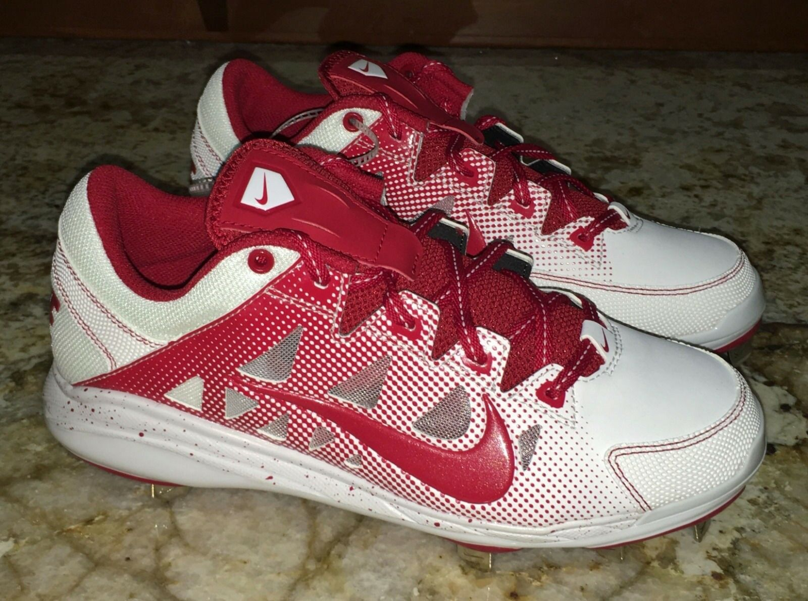 NIKE Air HyperDiamond Pro Metal Spikes Red White Softball Cleats NEW Womens 7 10