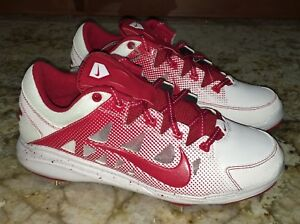 NIKE Air HyperDiamond Pro Metal Spikes Red White Softball Cleats NEW ... b7cc9a195e