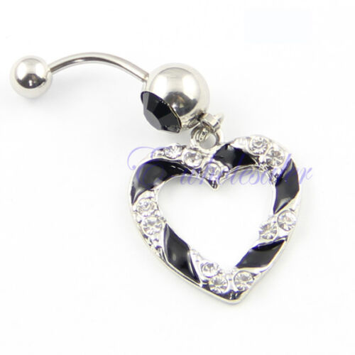 Clear Black Paved Heart Hollow Dangle Belly Button Navel Ring 1.6mm Bar JW171 CG