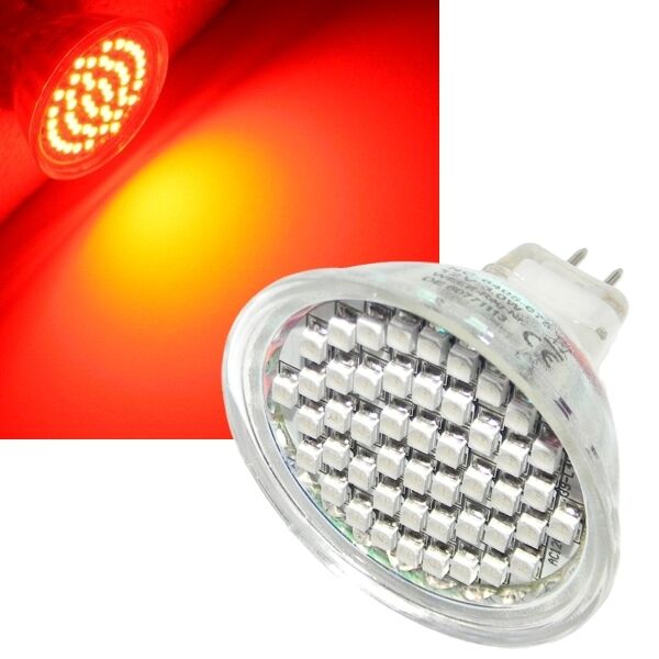 5x SMD LED emisor mr16 rojo - 48 LEDs spot gu 5,3 12v