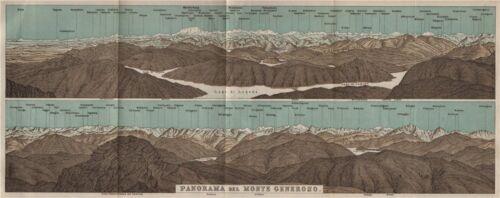 MONTE GENEROSO PANORAMA Lugano Como Maggiore Rosa Mischabel Disgrazia 1897 map