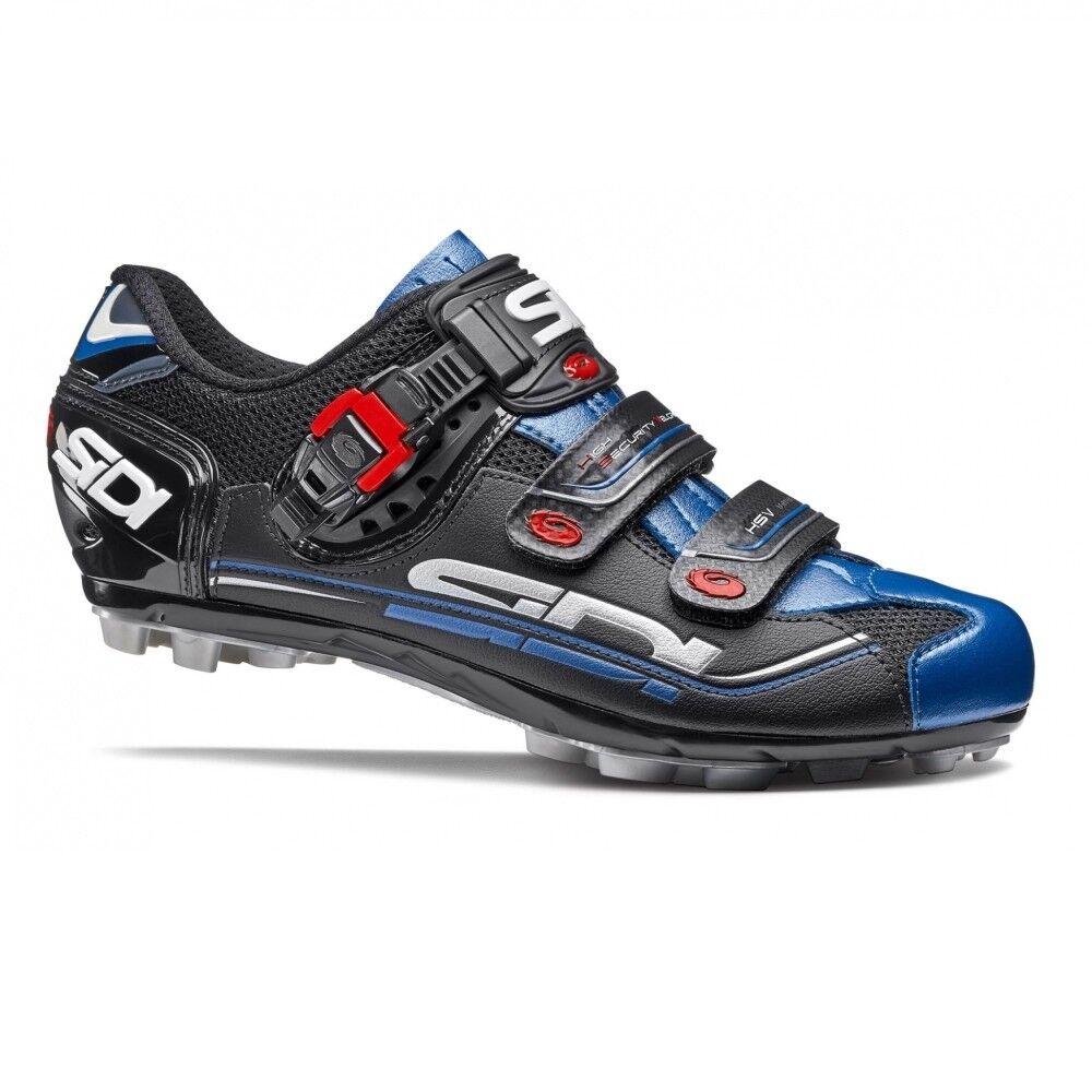 SIDI Eagle 7 Ajuste Calzado para Ciclismo Bicicleta de Montaña Bici Zapatos Negro Negro Azul Talla 36-46 EUR