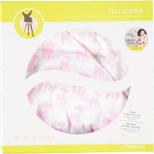 Pink 120cm x 120 cm LASSIG /'Lela/' Baby Cozy Blanket Extra Large Gift Boxed