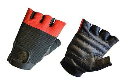 Men's Leather Weightlifting Exercise Gym Fingerless Spandex Gloves New LLL-1005