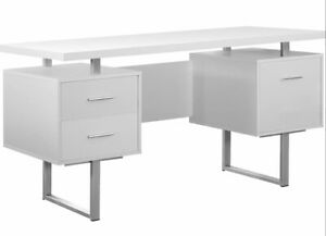 "Monarch I-7081 White Hollow Core & Silver Metal Office Desk 60"" **NEW**"