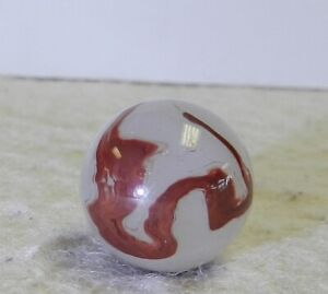 #12106m Vintage Akro Agate Silver Oxblood Marble .59 Inches