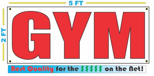 GYM Banner Sign NEW 2x5 Red /& White