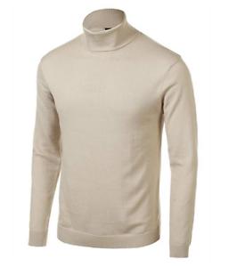 Daniel K Men/'s Basic Knitted Turtleneck Slim Fit Pullover Sweaters in Beige