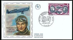 FRANCE-AVIATION-WOMAN-PIONEER-HELENE-BOUCHER-SILK-FIRST-DAY-COVER-LUFTFAHRTPIONI