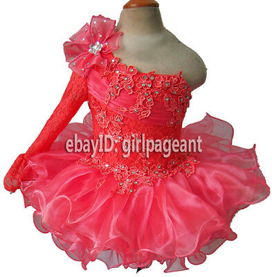 Infant//toddler//baby Red Lace Long Sleeve Bow Pageant Glitz Dress G192