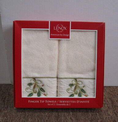 New Lenox Ribbon /& Holly Ivory Set of 2 Tip Towels