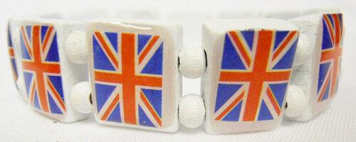 3 Piezas UK Bandera británica Union Jack Elástico Elástico Pulsera De Regalo De Madera De Fiesta