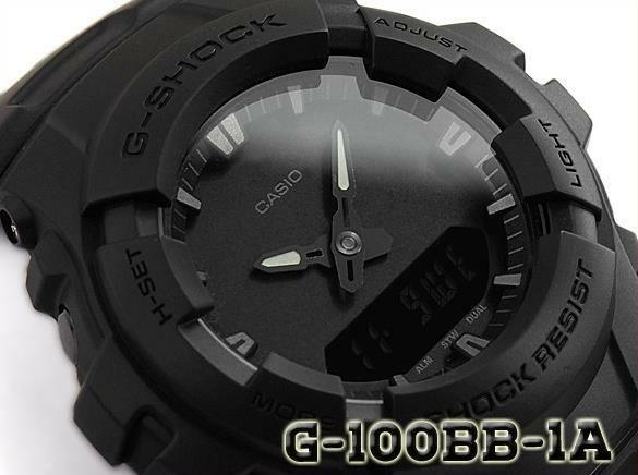CASIO G-SHOCK G100BB-1A G-100BB-1A, ALL BASIC MATTE BLACK, DUAL TIME, NEOBRITE