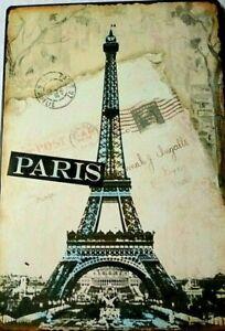 Wall-Plaque-Metal-Art-Paris-Postcard-Eiffel-Tower-France-French-Parisian-Decor