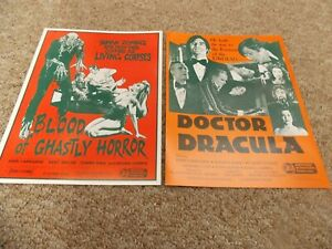 BLOOD OF GHASTLY HORROR & DOCTOR DRACULA LOT OF TWO PRESSBOOKS UNUSED