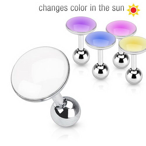 1x 16g 6mm Surgical Steel Tragus//Cartilage Barbell with Solar Activated Top