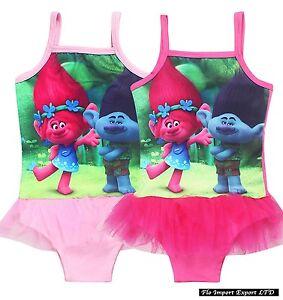 Trolls Costume da Bagno per Ragazze Poppy