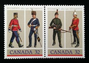 Canada-1007-1008a-MNH-Army-Regiments-Pair-of-Stamps-1983