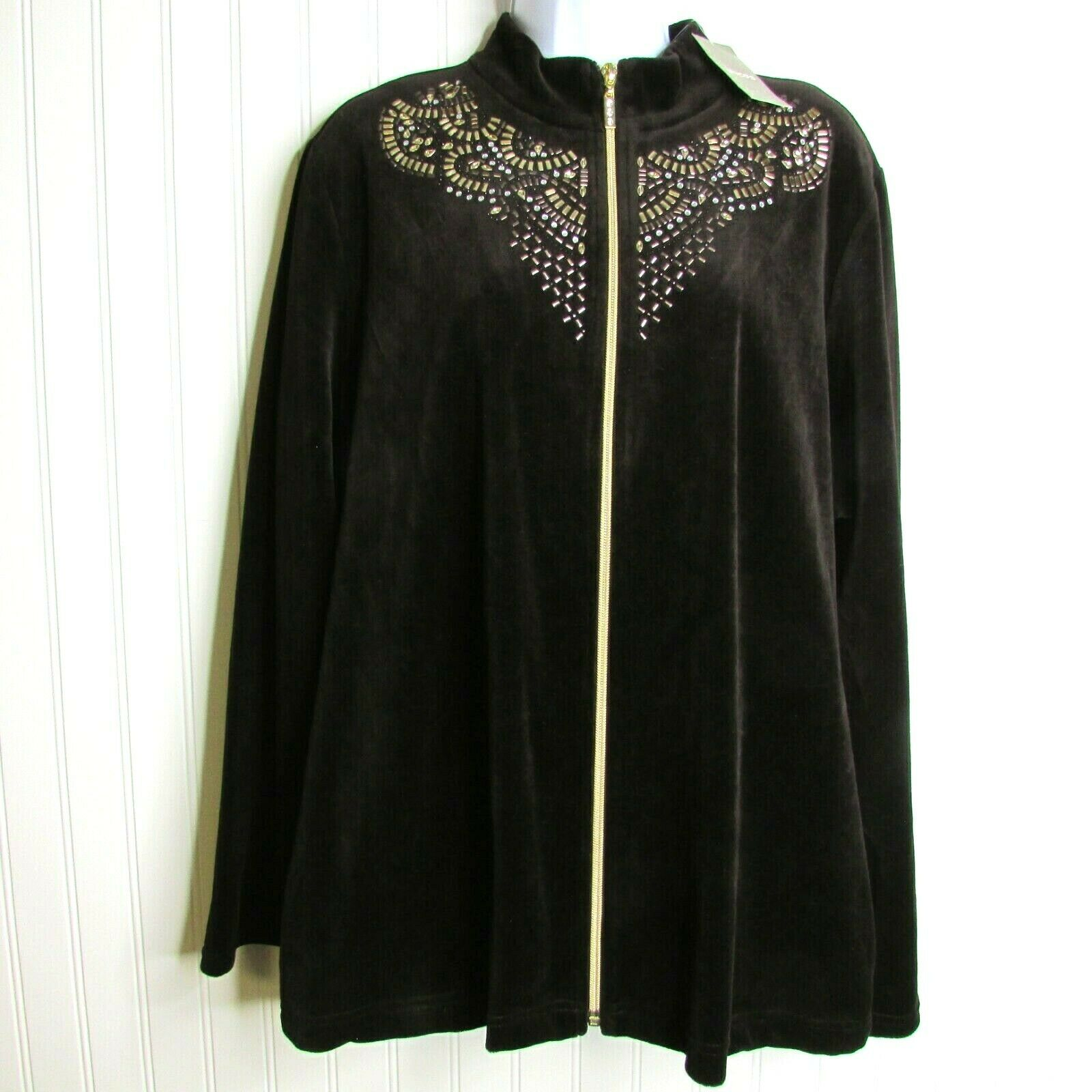 Zenergy Chicos NEW Velour Zip Jacket Embellished Brown Size 3 XL 16 Retail