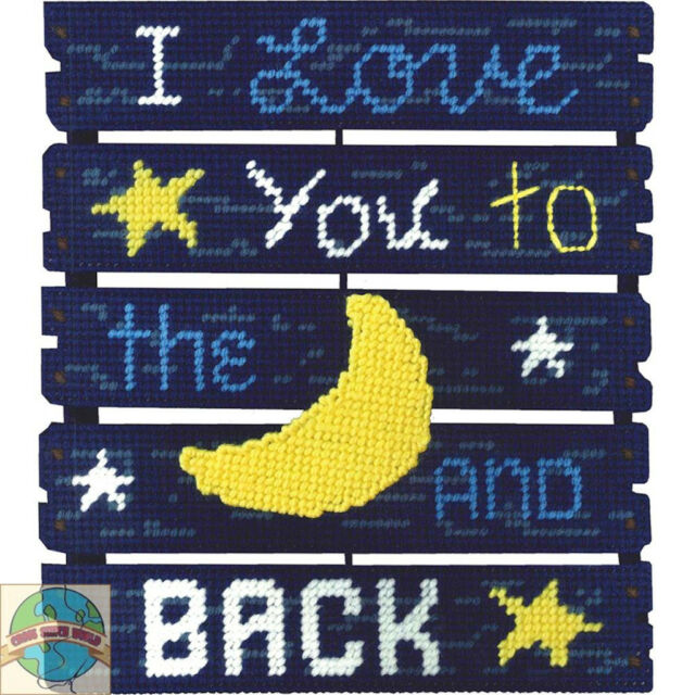 Plastic Canvas Kit ~ Janlynn Love You To The Moon Pallet Wall Hanging #021-1852