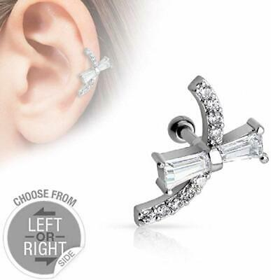14Kt Gold Plated Tragus//Cartilage Stud Fairy Dangle with Clear CZ Paved Wings