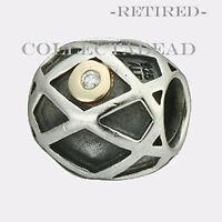 Authentic Pandora Silver & 14k Web Diamond Bead 790164d Retired on sale
