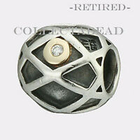 Authentic Pandora Silver & 14k Web Diamond Bead 790164d Retired