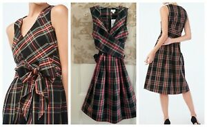 4 6 8 J.Crew Factory Women's Tartan V-Neck Wrap Dress NWT Size