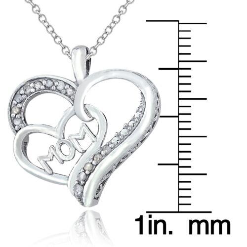 Sterling Argent 1//8ct Diamant Mère Double Collier Coeur