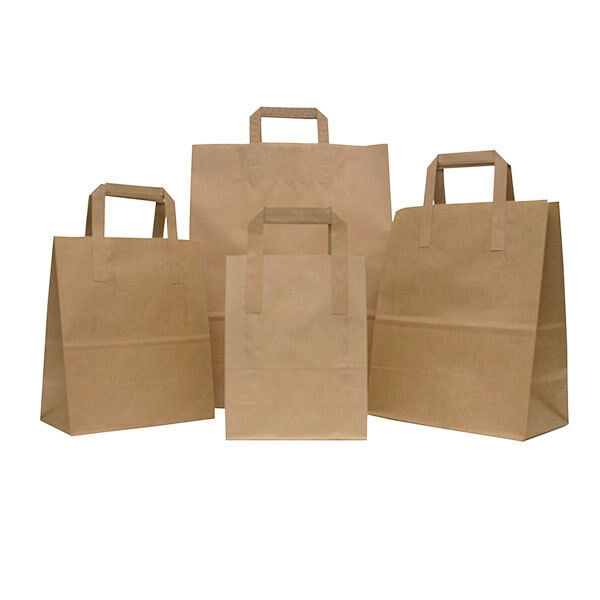 braun Kraft Paper SOS Party Bags Flat Handles Gifts Weddings Loot  Takeaway