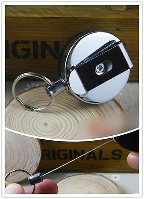 WOAU  Retractable Metal Card Badge Holder Steel Recoil Key Belt Clip Pull Chain