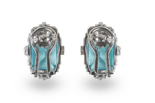 A la carte 925 Sterling Silver Earrings CZ Aqua blue Emerald Round Elelgant