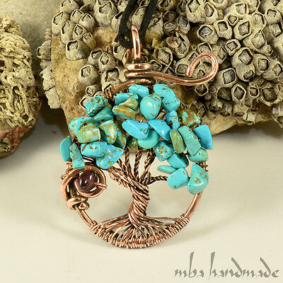 Turquoise & Garnet Crystals Tree Of Life Necklace Antiqued Copper Wire Wrapped