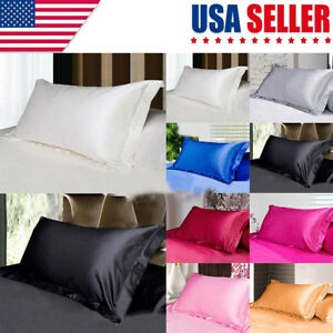USA-Solid-Queen-Standard-Pillow-Case-Bedding-Pillowcase-Smooth-Home
