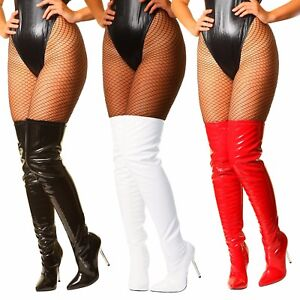Womans-Sexy-Patent-Stretch-Fetish-Over-The-Knee-Thigh-High-Heel-Stiletto-Boots