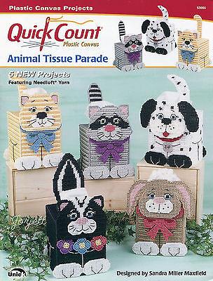 Animal Tissue Parade ~ Raccoon Cat Dog Bunny Skunk plastic canvas patterns