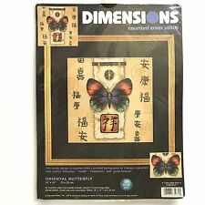 ORIENTAL BUTTERFLY Counted Cross Stitch Kit Dimensions Chinese Characters NIP