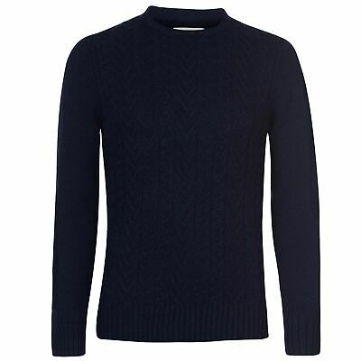 Criminal Skagen Cable Knit Jumper Mens Gents Pullover Crew Neck Winter