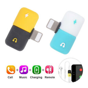 Details about 2 In 1 Dual Lightning Splitter Capsule Audio Jack Adapter For  iPhone X/XS MAX/XR