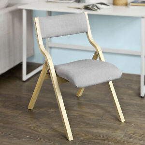 Image Is Loading So Wood Grey Padded Folding Chair Home Office