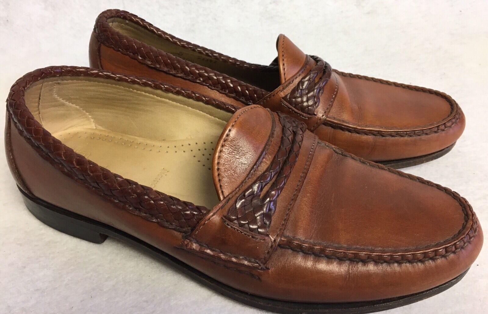 Allen Edmonds Newcomb Mens Chestnut Woven Double Strap Loafers Merlot Braided