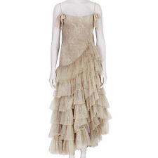 Alessandra Rich Glittering Nude Cascading Ruffle Princess Dress Gown IT38 UK6