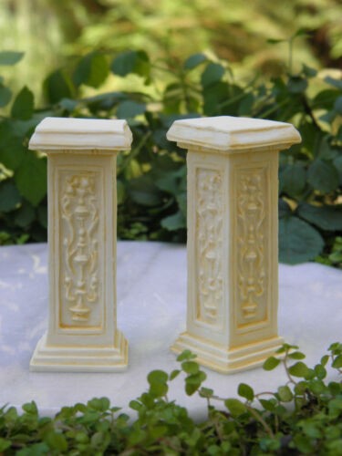 Miniature Dollhouse FAIRY GARDEN Accessories ~ 2 Ivory Resin French Pedestals