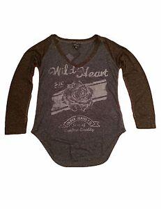 Silver-Jeans-Women-039-s-Blue-Melange-Burn-Out-T-Shirt-L-0X
